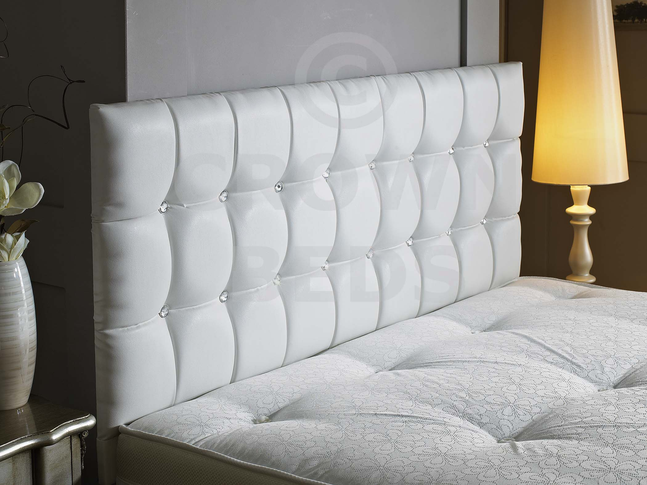 upholstered leather white pink king set tall diamond covers tufted bedroom headboard